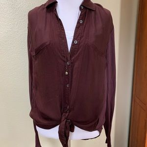 Free people button down wine color shirt SZ XS